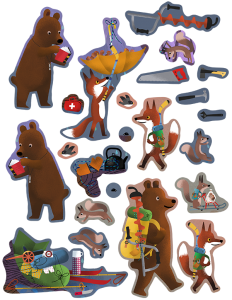 Bear and Fox Sticker book Page with stickers
