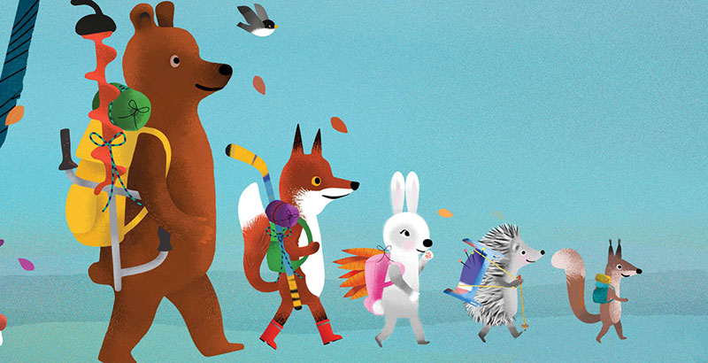 Bear and Fox picture book illustration, the animals hiking in a fall forest