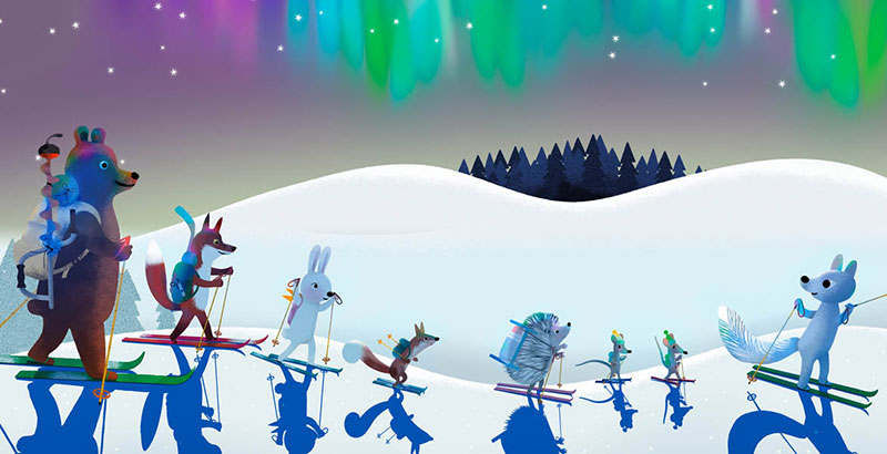 Bear and Fox picture book illustration, the animals ski under the Northern Lights