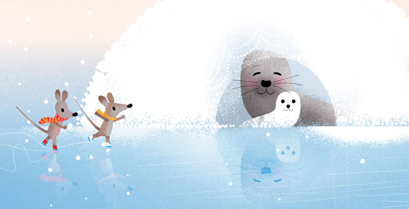Bear and Fox picture book illustration, seal's nest and a seal baby