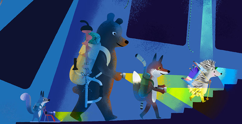 Bear and Fox picture book illustration, the animals walking in a dark cave with flashlights