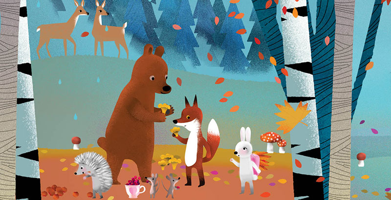 Bear and Fox picture book illustration, the animals picking mushrooms in a fall forest when a Rabbit appears
