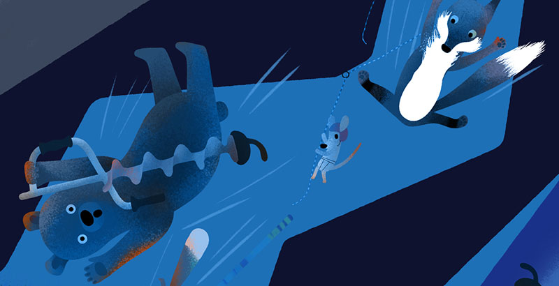 Bear and Fox picture book illustration, the animals found a shortcut but fell in a cave