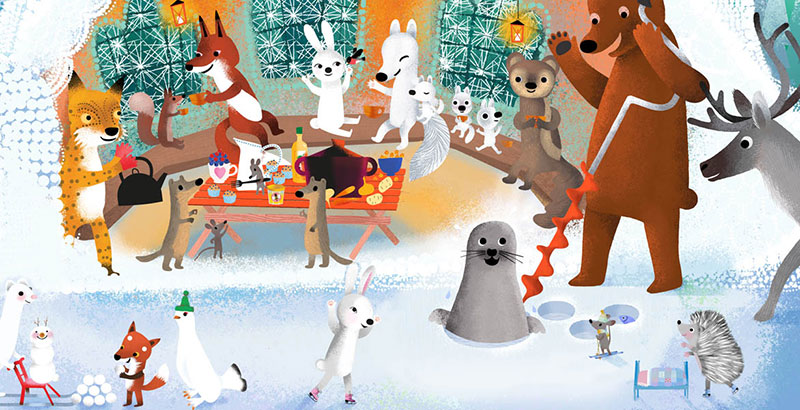 Bear and Fox picture book illustration, party with the forest animals and a Seal