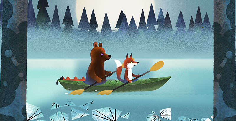 Bear and Fox picture book illustration, kayaking under the Full Moon