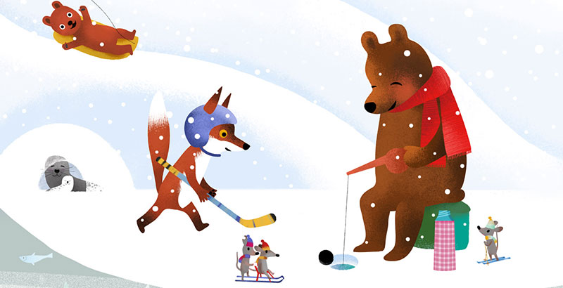 Bear and Fox picture book illustration, ice-fishing and playing ice hockey in winter illustration