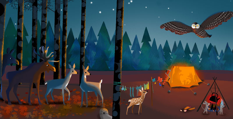 Bear and Fox picture book illustration, forest animals looking at the happy campers