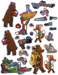 Bear and Fox sticker book illustration, fall trekking stickers